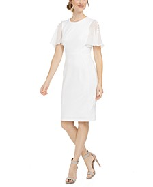 Chiffon-Sleeve Sheath Dress