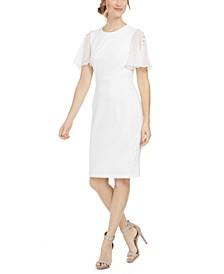 Chiffon-Sleeve Sheath Dress