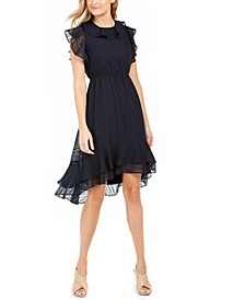 Textured Ruffled High-Low A-Line Dress