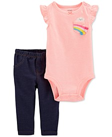 Baby Girls 2-Pc. Striped Rainbow Bodysuit & Pants Set