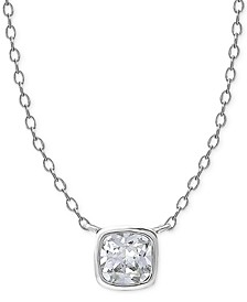 "Cubic Zirconia Square Bezel Pendant Necklace in Sterling Silver. 16"" + 2"" extender"