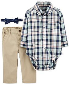 Baby Boys 3-Pc. Cotton Bowtie, Plaid Bodysuit & Pants Set