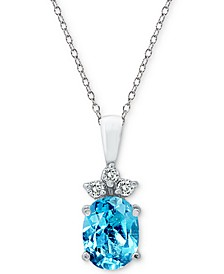 """Cubic Zirconia Oval 18"""" Pendant Necklace in Sterling Silver"""