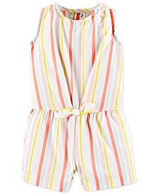 Baby Girls Striped Twill Romper