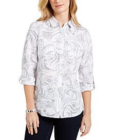 Charter Club Artful Paisleys Printed Linen-Blend Shirt, Created for Macy's