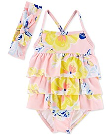 Baby Girls 2-Pc. Swimsuit & Head Wrap Set