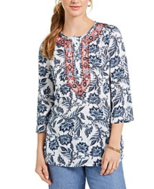 Petite Embroidered Printed Tunic, Created for Macy's