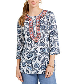 Charter Club Printed Embroidered Tunic, Created for Macy's