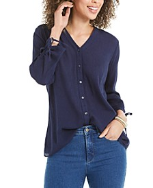 Gauzy Tie-Sleeve Blouse, Created for Macy's