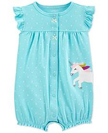 Baby Girls Dot-Print Unicorn Cotton Romper