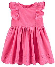 Baby Girls Embroidered Floral Poplin Dress
