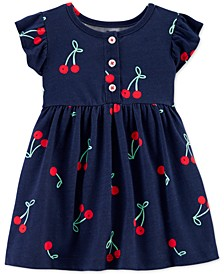 Baby Girls Cotton Cherry-Print Dress