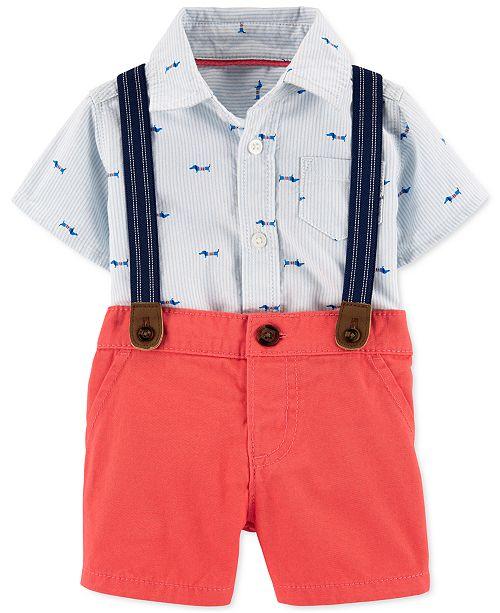Carter's Baby Boys 3-Pc. Bodysuit; Shorts & Suspenders Set