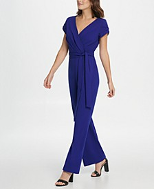 Triple Layer Sleeve Surplice Jumpsuit
