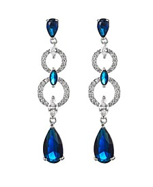 Silver-Tone Sapphire Accent Layered Drop Earrings