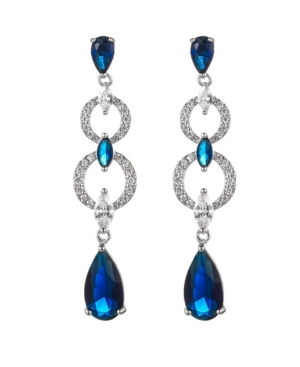 A & M Silver-Tone Sapphire Accent Layered Drop Earrings