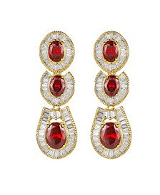 Gold-Tone Ruby Accent Tribal Drop Earrings
