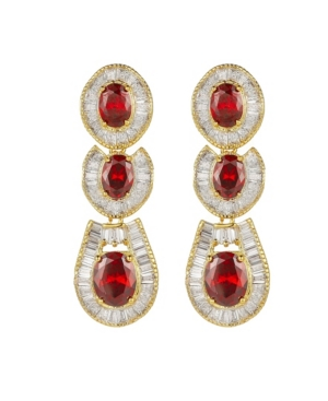 A & M Gold-Tone Ruby Accent Tribal Drop Earrings