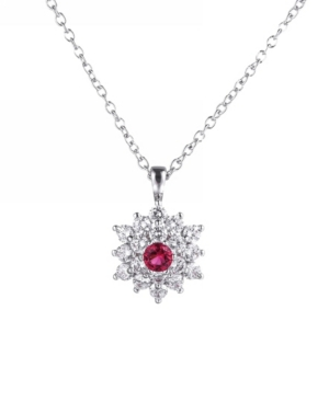 A & M Silver-Tone Ruby Accent Flower Pendant Necklace