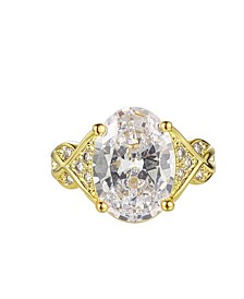 Gold-Tone White Topaz Accent Ring