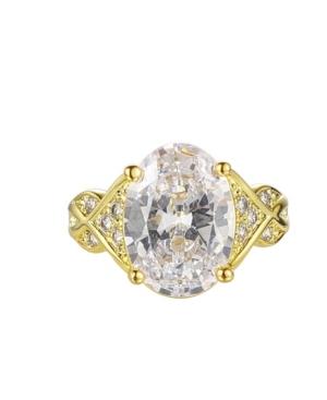 A & M Gold-Tone White Topaz Accent Ring