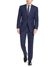 Men's Slim-Fit Stretch Blue Birdseye Suit