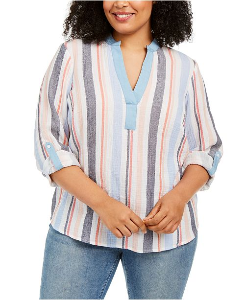 Style & Co Plus Size Textured Striped Top, Created for Macy's