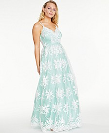Juniors' Embroidered Mesh Gown, Created for Macy's