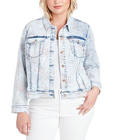 Trendy Plus Size Peony Printed Denim Jacket