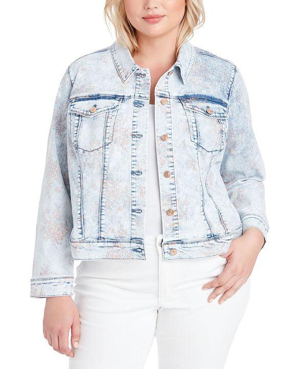 Jessica Simpson Trendy Plus Size Peony Printed Denim Jacket