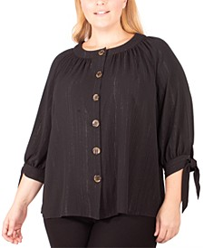 Plus Size Metallic Tie-Sleeve Button-Up Shirt