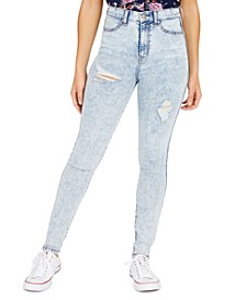 Juniors' Curvy Ripped High Rise Skinny Jeans