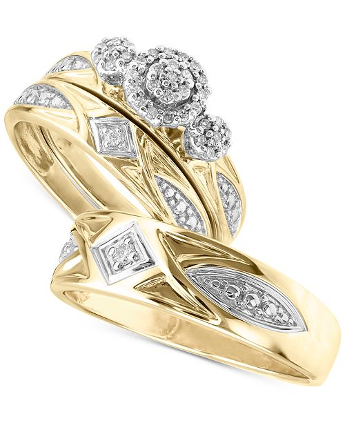Macy S His Her Diamond Wedding Set Collection In 14k Gold Reviews Rings Jewelry Watches Macy S