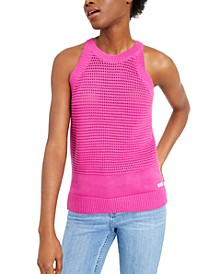 Open-Stitch Cotton Sleeveless Top