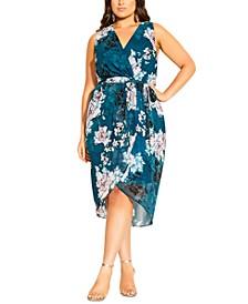 Trendy Plus Size Floral-Print Faux-Wrap Dress
