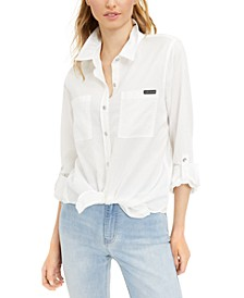 Button-Front Roll-Tab-Sleeve Top