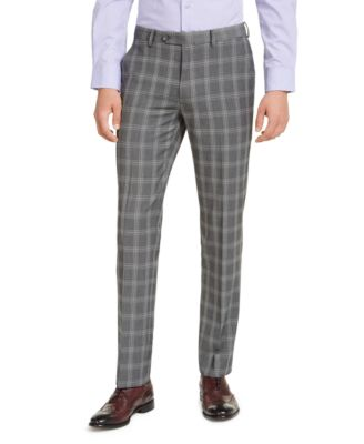 Men's Slim-Fit Stretch Gray Plaid Suit Pants, Created for Macy's