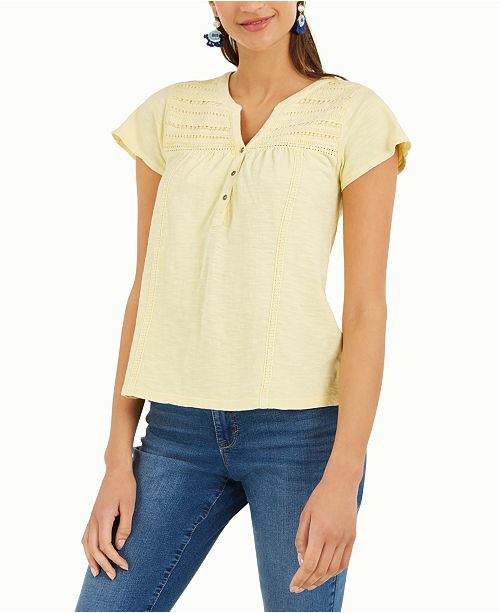 Style & Co Split-Neck Top, Created for Macy's