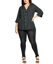 Trendy Plus Size Pinstriped Shirt