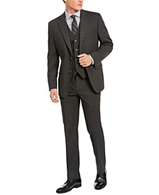 Men's Classic-Fit Stretch Charcoal Solid Suit Separates, Created For Macy's