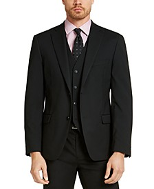 Men's Slim-Fit Stretch Black Solid Suit Jacket, Created For Macy's