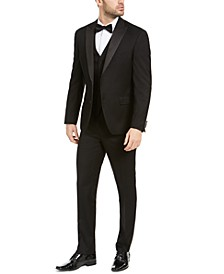 Men's Slim-Fit Stretch Black Twill Suit Separates, Created For Macy's