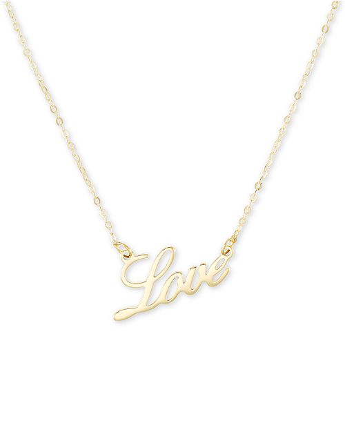 "Italian Gold ""Love"" 18"" Pendant Necklace in 10k Gold"