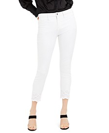 Eyelet-Hem Skinny Ankle Jeans