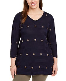 Plus Size Striped Grommet 3/4-Sleeve Top