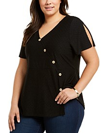 Plus Size Swiss-Dot Split-Sleeve Crossover Top