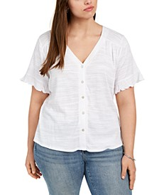 Plus Size Flutter-Sleeve Button-Down Top