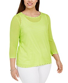 Plus Size Embellished Mesh Top