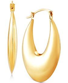 Puff Oval Hoop Earrings in 10k Gold