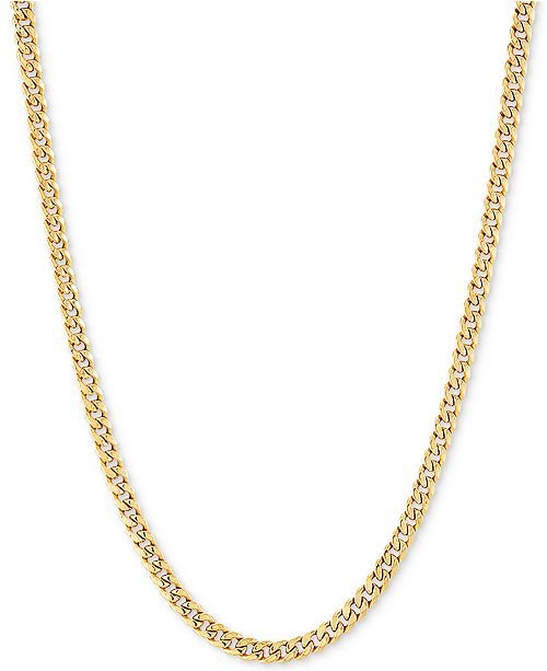 """Italian Gold Miami Cuban Link 24"""" Chain Necklace in 14k Gold"""